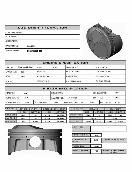 BBCSRE5325-110  Big Block Chevy SR20 N/A 4.610 bore, 4.375 stroke, 6.535 rod, 1.070 CH 24.5cc dome 1mm, 1mm, 3mm rings