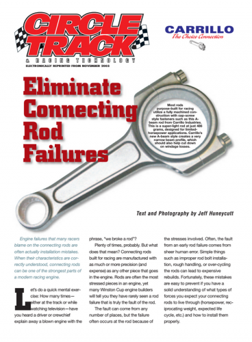 How to emilminate connecting rod failure Circle track eprint